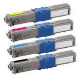 Okidata 44469701 44469702 44469703 44469801 Compatible Toner Cartridge Combo BK/C/M/Y