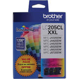 Brother LC205 3PKS Original TriColour Ink Cartridge Combo Extra High Yield