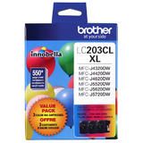 Brother LC203 3PKS Original TriColour Ink Cartridge Combo High Yield