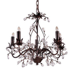bronze painted iron 5 lights crystal mini chandelier