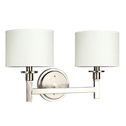 White Box Wall Lights : White Shade Brushed Nickel Finish 2 Lights Wall Lamp Contemporary Lighting at LightingBox.com Canada