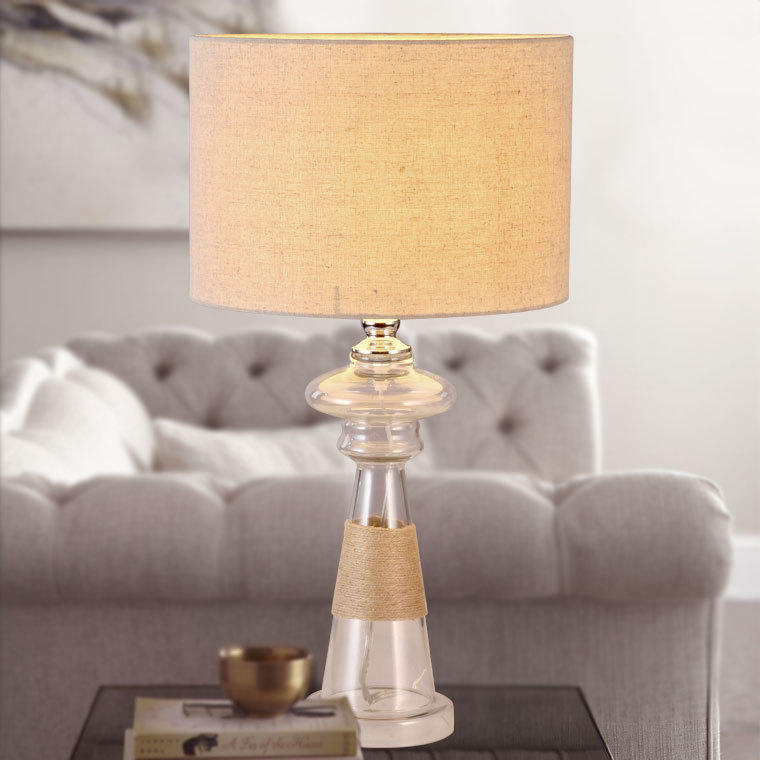 Glass & Rope Drum Shade 1 Light Table Lamp