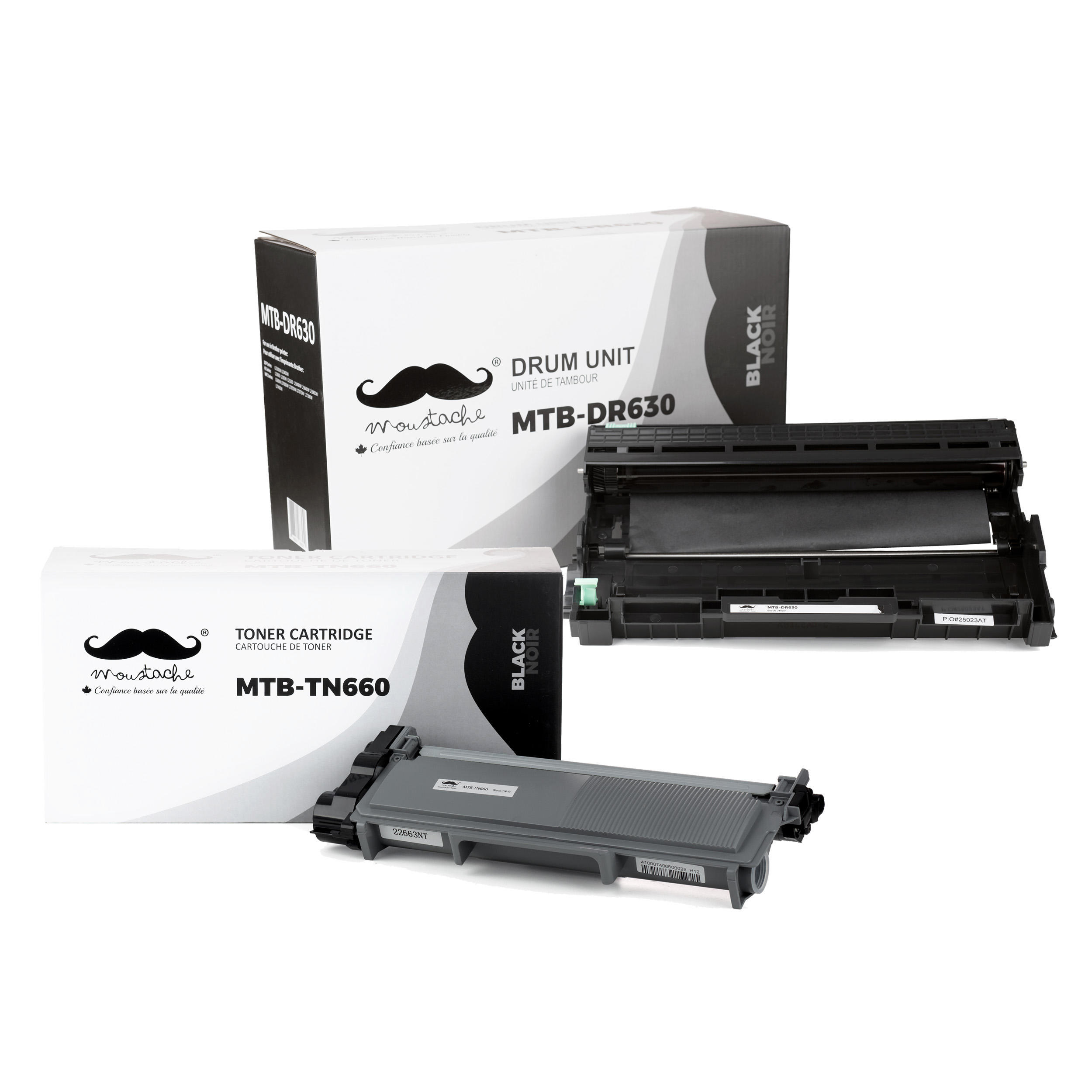 Brother TN660 DR630 Compatible Toner Cartridge and Drum Combo - Moustache®