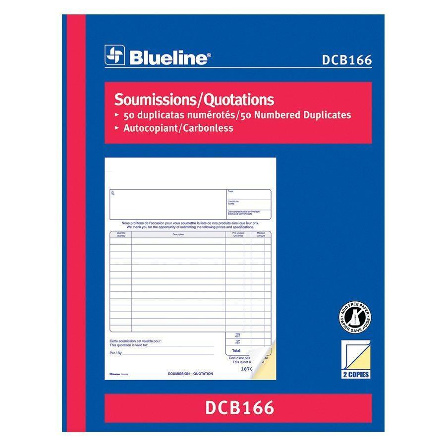 Blueline Quotation Book Carbonless Numbered Forms – Bilingual (DCB166)