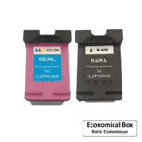 Remanufactured HP 62XL Black and Tri-color Ink Cartridge Combo High Yield - Economical Box