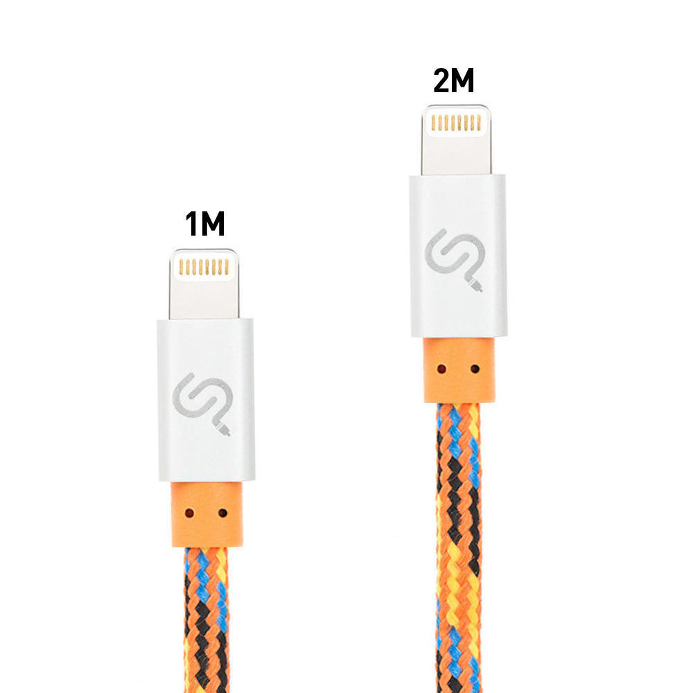 PrimeCables Apple Certified 1m 2m Nylon Braided Lightning Cable for iPhone iPod iPad, Orange