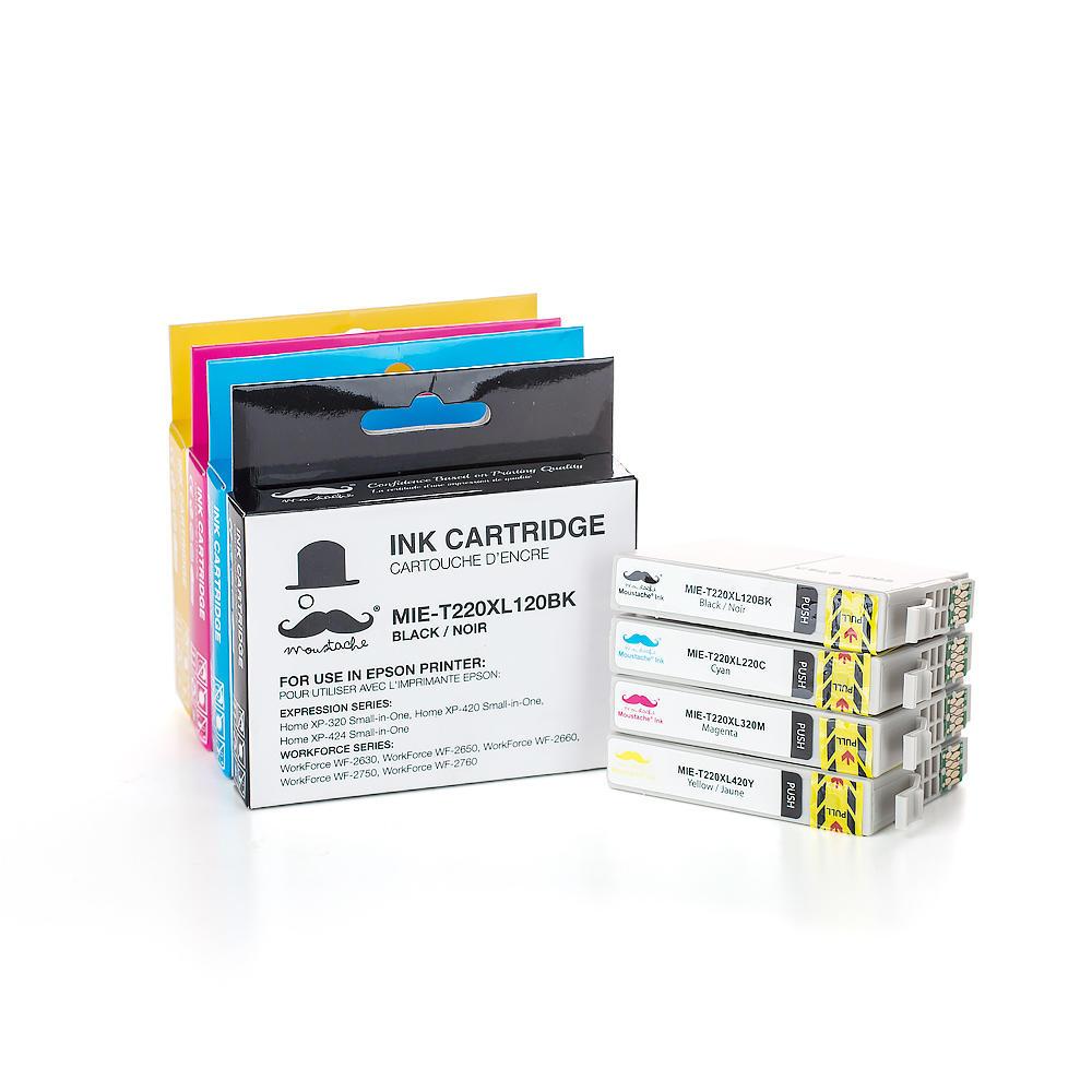 Epson 220 T220XL Compatible Ink Cartridge Combo High Yield BK/C/M/Y - Moustache®