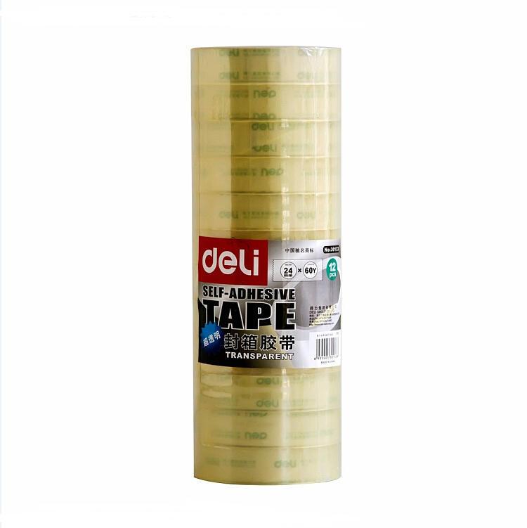 DELI 30130 Packing Transparent Tape 24Mm x 30Y x 50Um (Tube) – 12 Rolls