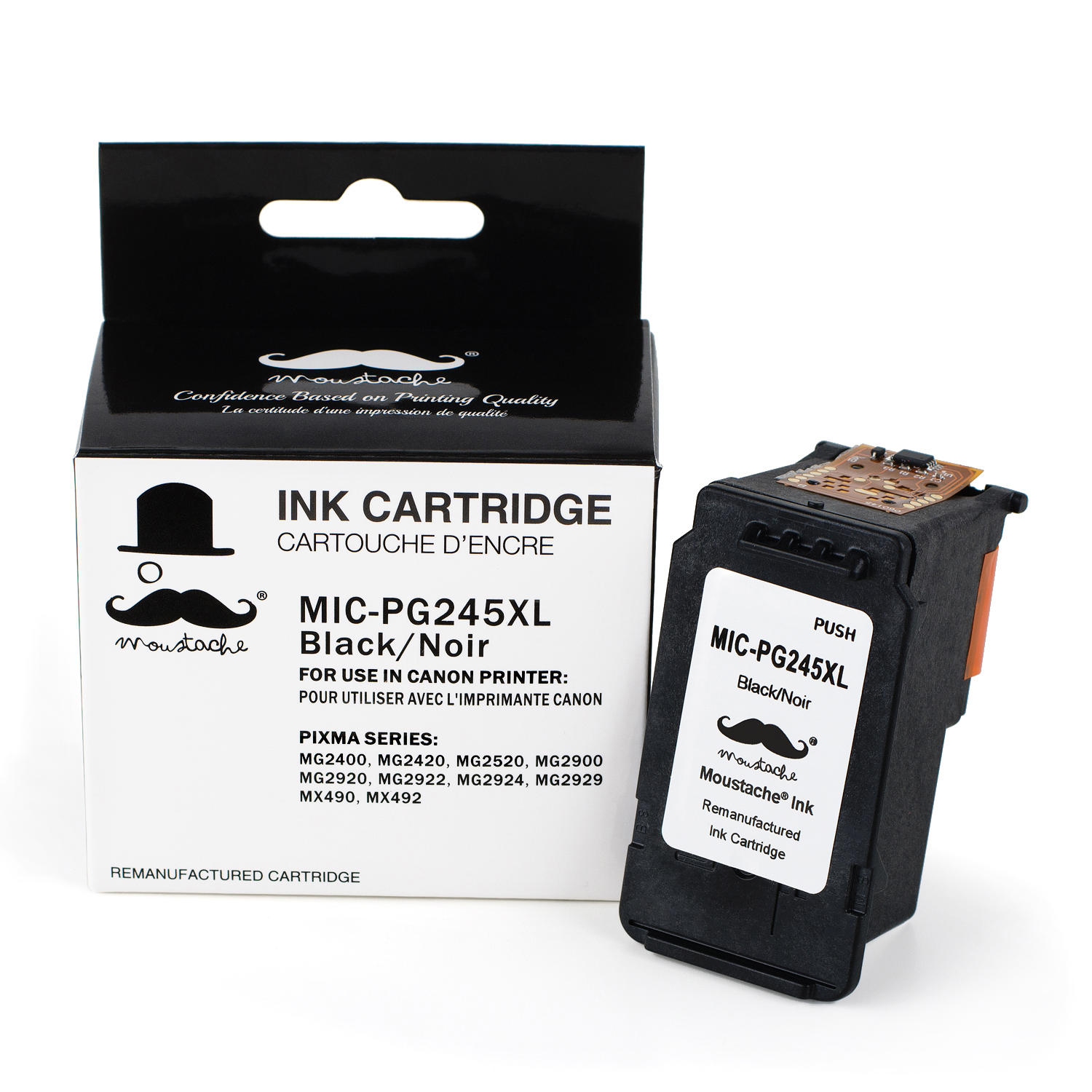 Canon PG245XL 8278B001AA Remanufactured Black Ink Cartridge - Moustache®