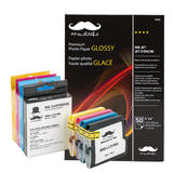Brother LC51 Compatible Ink Cartridge Combo with Premium Photo Paper Glossy - Moustache®
