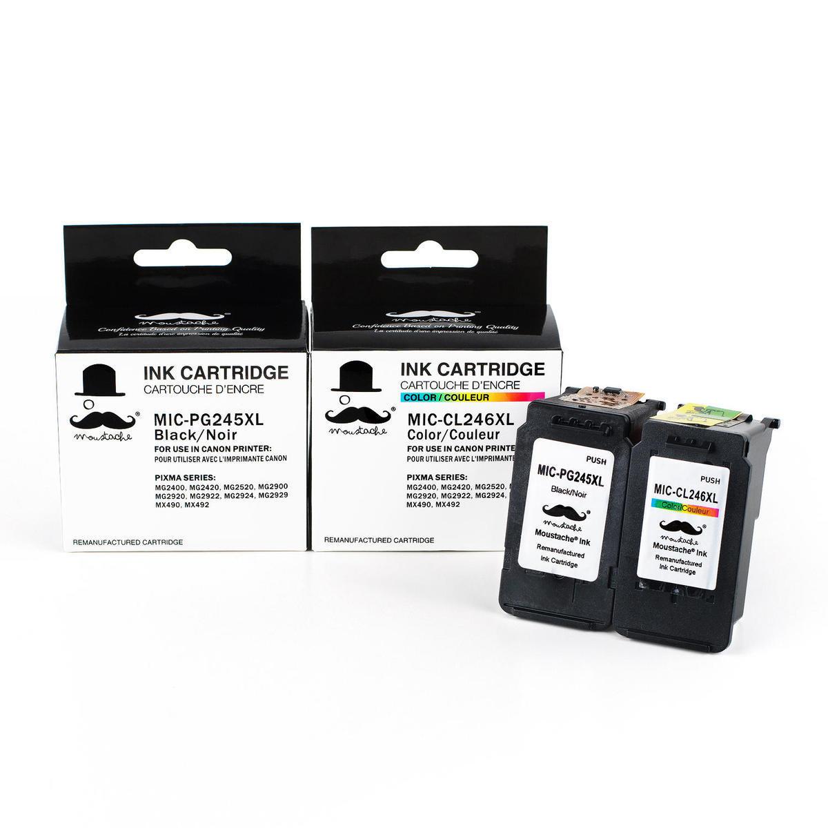 Canon PG245XL CL246XL Remanufactured Black and Color Ink Cartridge Combo - Moustache®