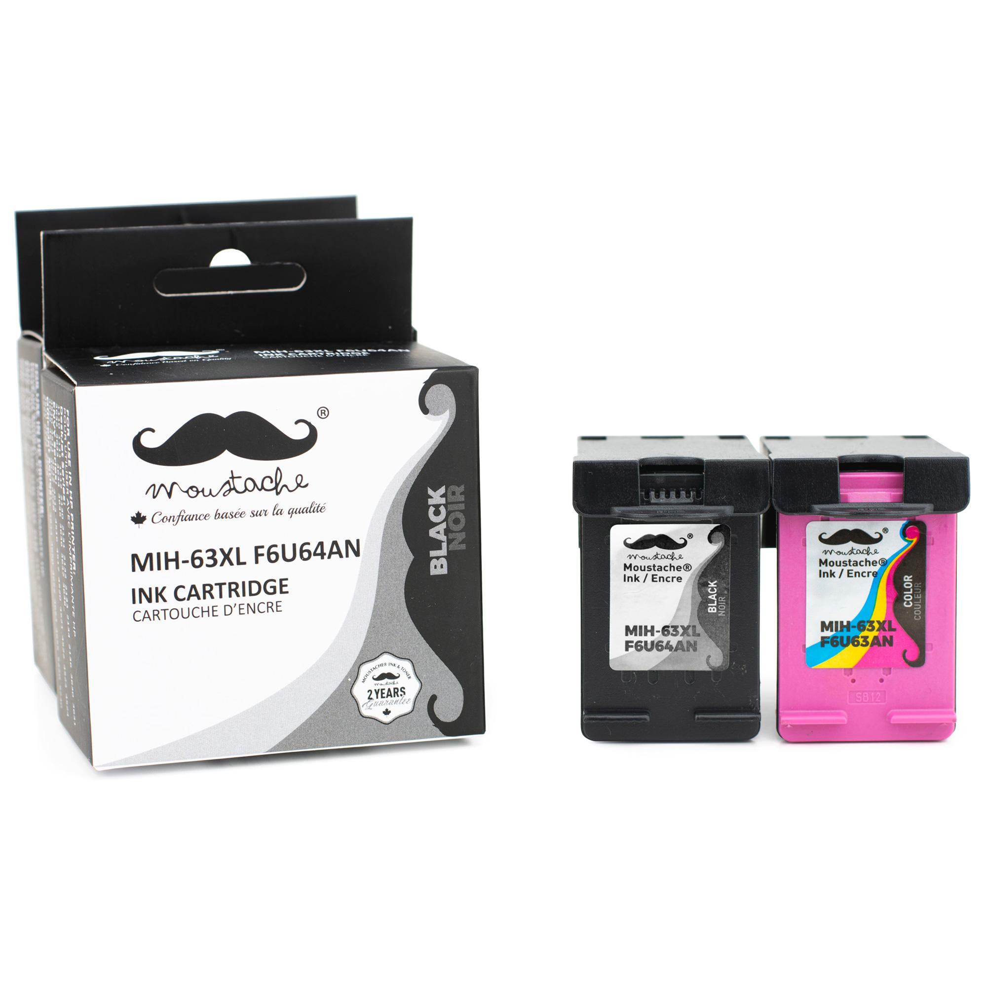 Remanufactured HP 63XL F6U64AN F6U63AN Ink Cartridge Black and Color Combo High Yield - Moustache®