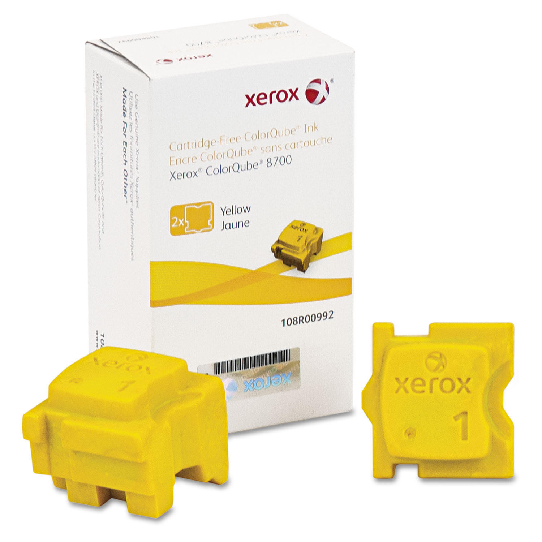 Xerox 108R00992 Original Yellow Solid Ink For ColorQube 8700 Printer 2 Sticks/Pack