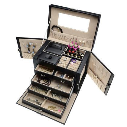 Black Pu Leather 5 Layers Jewelry Box Storage Organizer