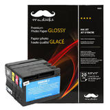 Remanufactured ( Compatible ) HP 932XL/933XL Ink Cartridges with Moustache® Premium Photo Paper