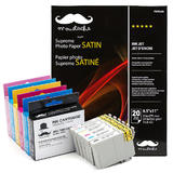Epson T098/99 Compatible Ink Cartridge Combo with Professional Satin Photo Paper - Moustache®