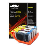 Canon CLI-8 Compatible Ink Cartridge Combo with Moustache® Photo Paper Satin