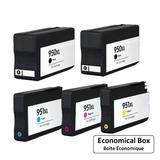 Compatible HP 950XL 951XL Ink Cartridge Combo High Yield BK/BK/C/M/Y - Economical Box