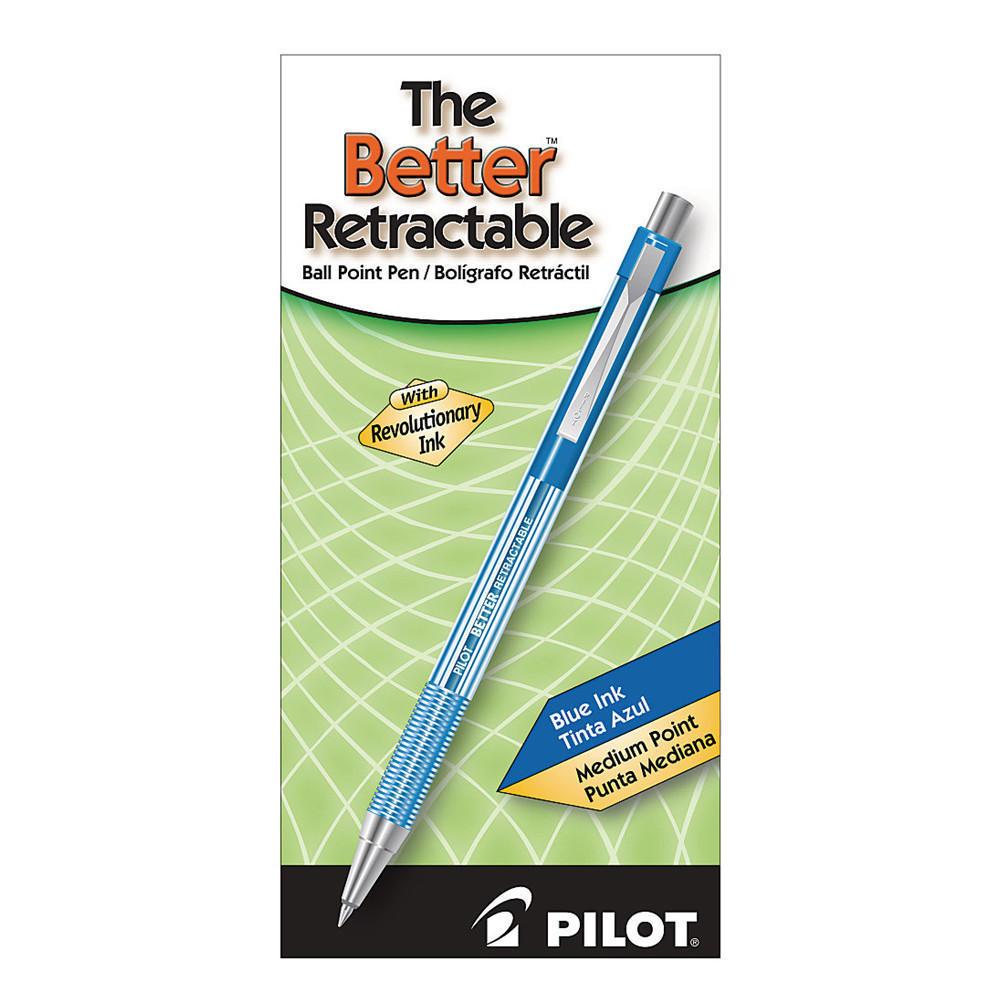 Pilot Better The Better Retractable Ballpoint Pen, Medium Point, Blue,12|Pack