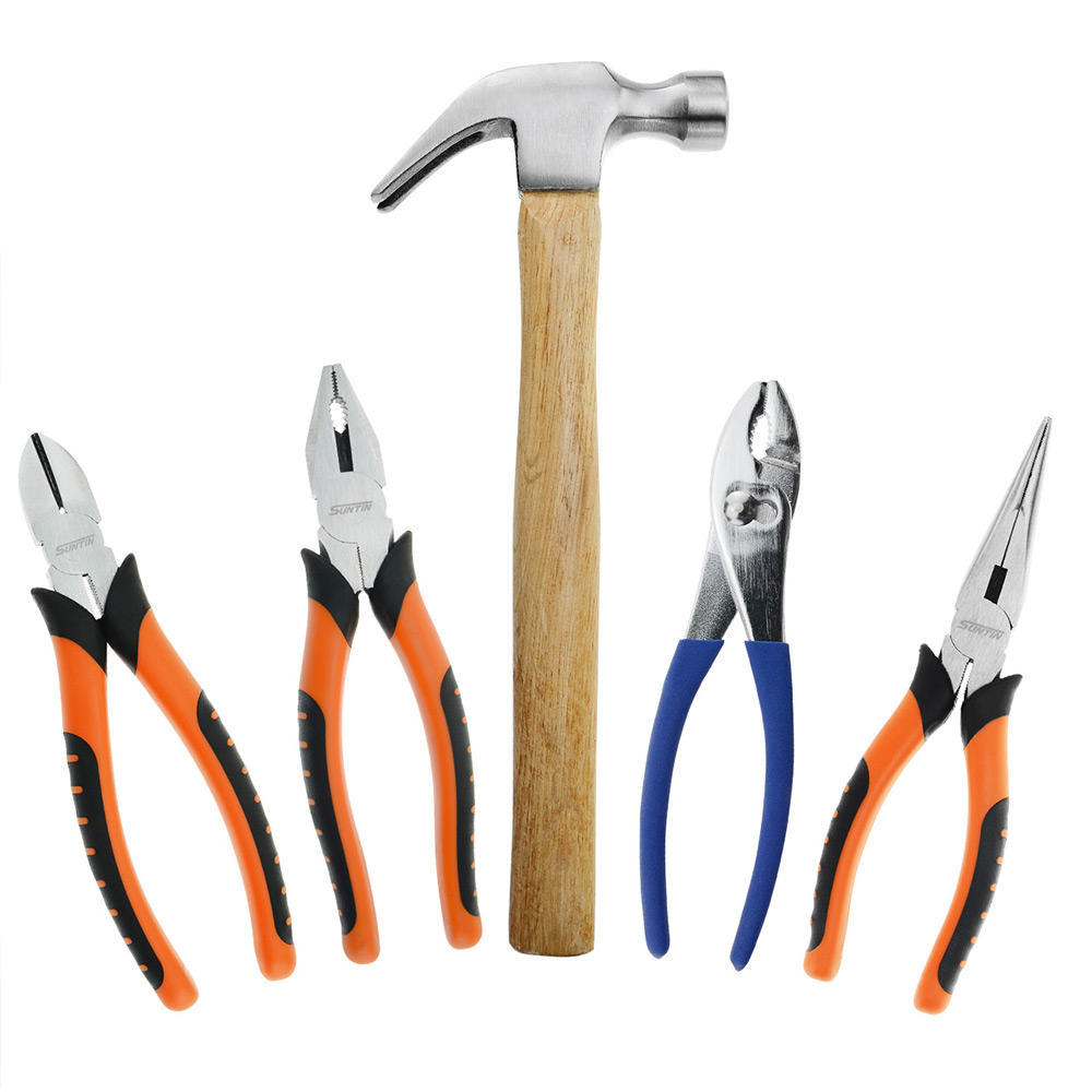 5-Piece Household Hammer + Pliers Tool Set