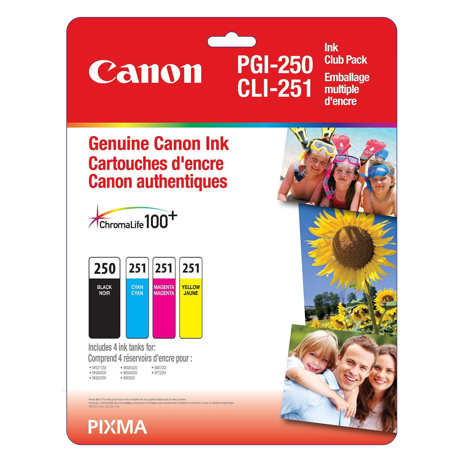 Canon PGI250 CLI251 6497B009 Original Ink Cartridge Combo C/M/Y PGI-250-CLI-251 OEM Combo Set