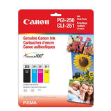 Canon PGI250 CLI251 6497B009 Original Ink Cartridge Combo BK/C/M/Y