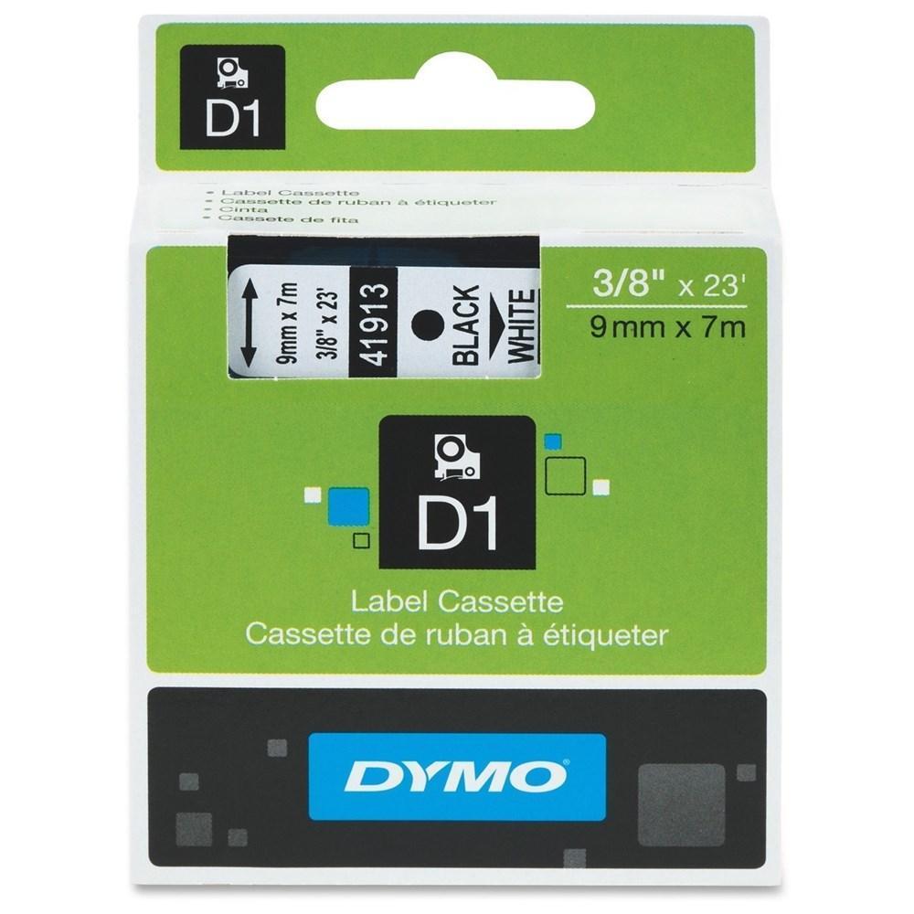 DYMO D1 41913 Original Label Tape Black on White 3|8 in x 23 ft (9mm x 7m)