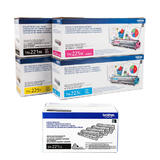 Brother TN221BK TN225CMY DR221CL Original Toner Cartridge & Drum Combo