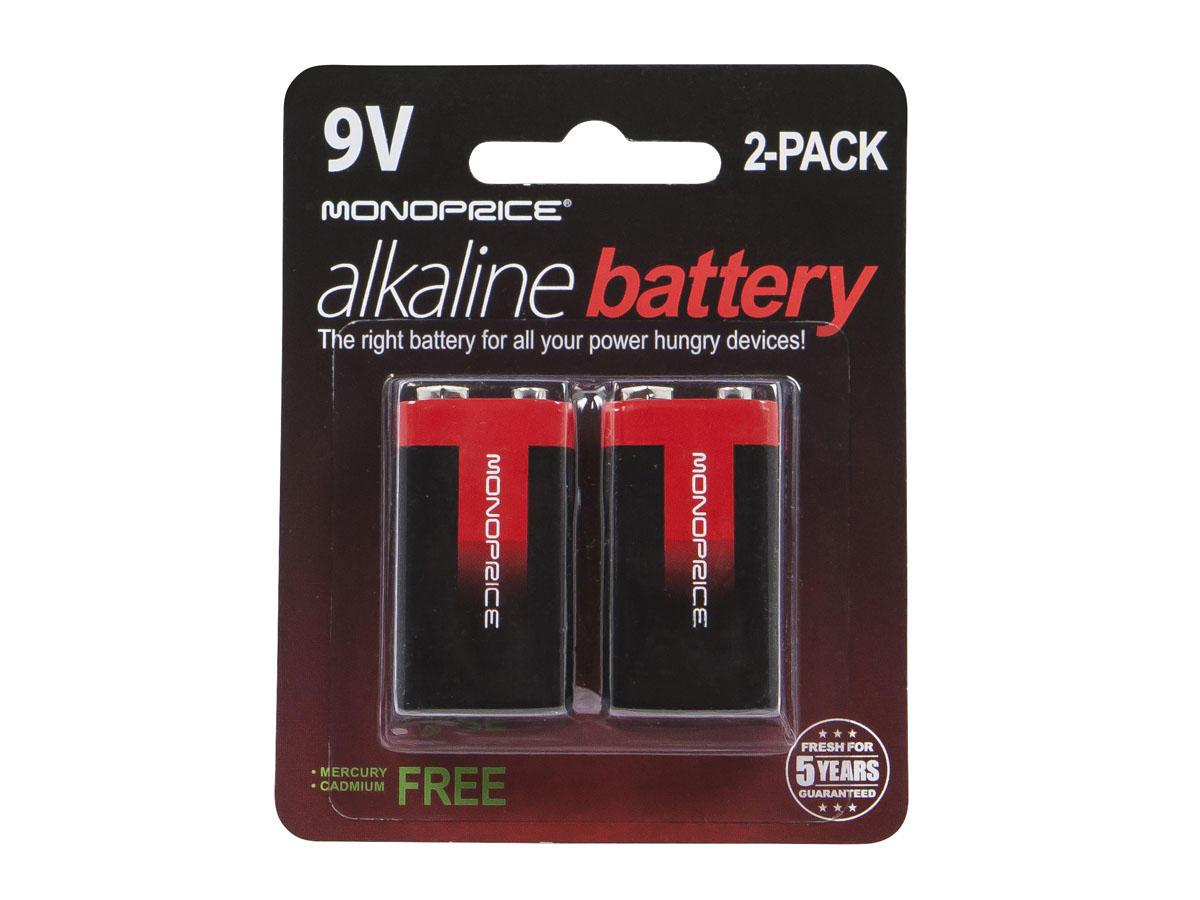 Monoprice 9V Alkaline Battery, 2-Pack