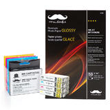 Epson T220XL Compatible Ink Cartridge Combo with Photo Paper Glossy - Moustache®