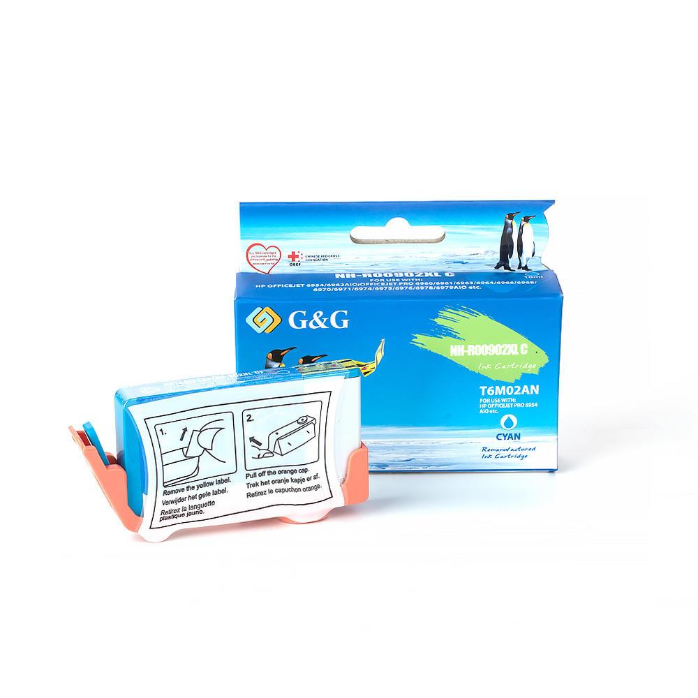 Remanufactured ( Compatible ) HP 902XL T6M02AN Cyan Ink Cartridge High Yield – G&G