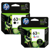HP 63XL F6U64AN F6U63AN Original Black and Tri-Color Ink Cartridge Combo High Yield