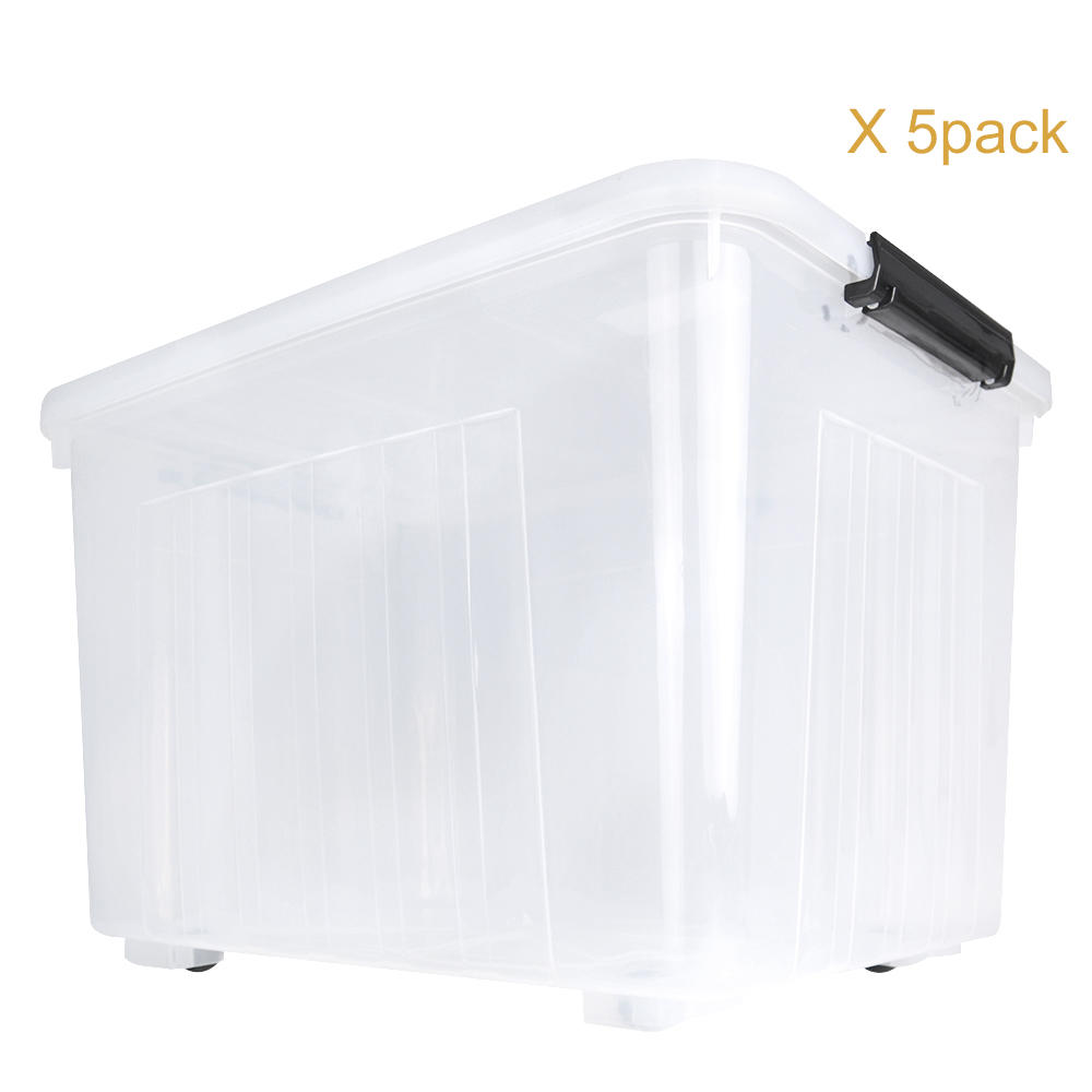 53-Quart |50L Plastic Ultra Latch Storage Box, Stack And Pull Container Clear 5-PACK SortWise