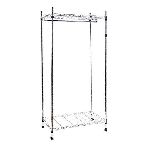 closet organizer wardrobe rack storage free standing hanging rod with 4 lockable wheels sortwise. Black Bedroom Furniture Sets. Home Design Ideas