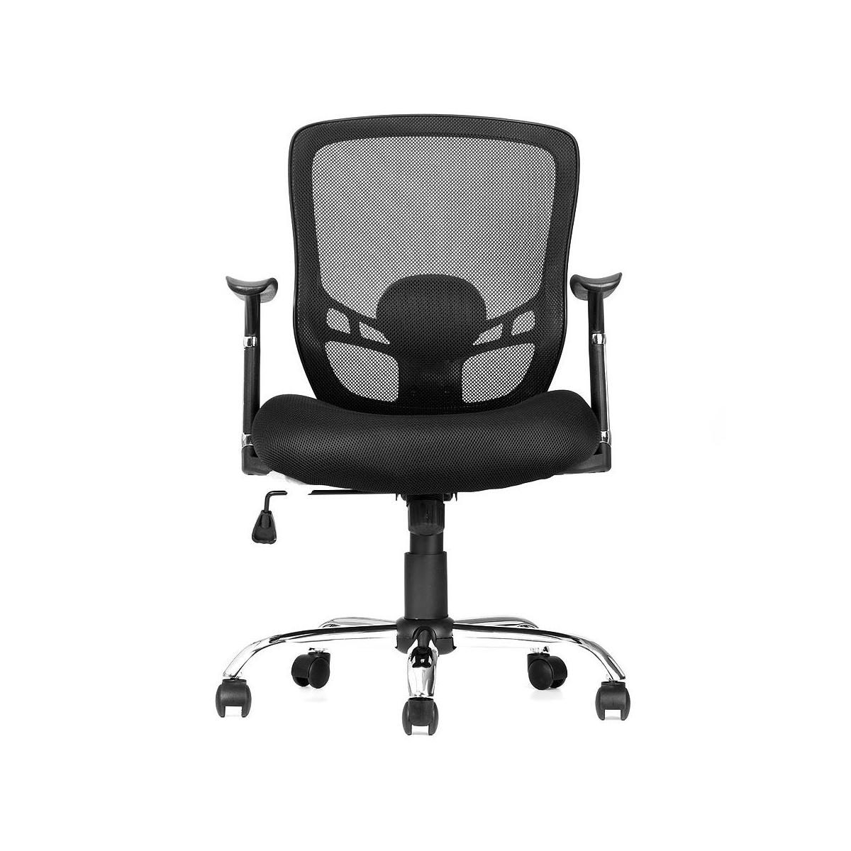Mesh Office Chair with Fixed Arms, Mid Back , Black - Moustache®