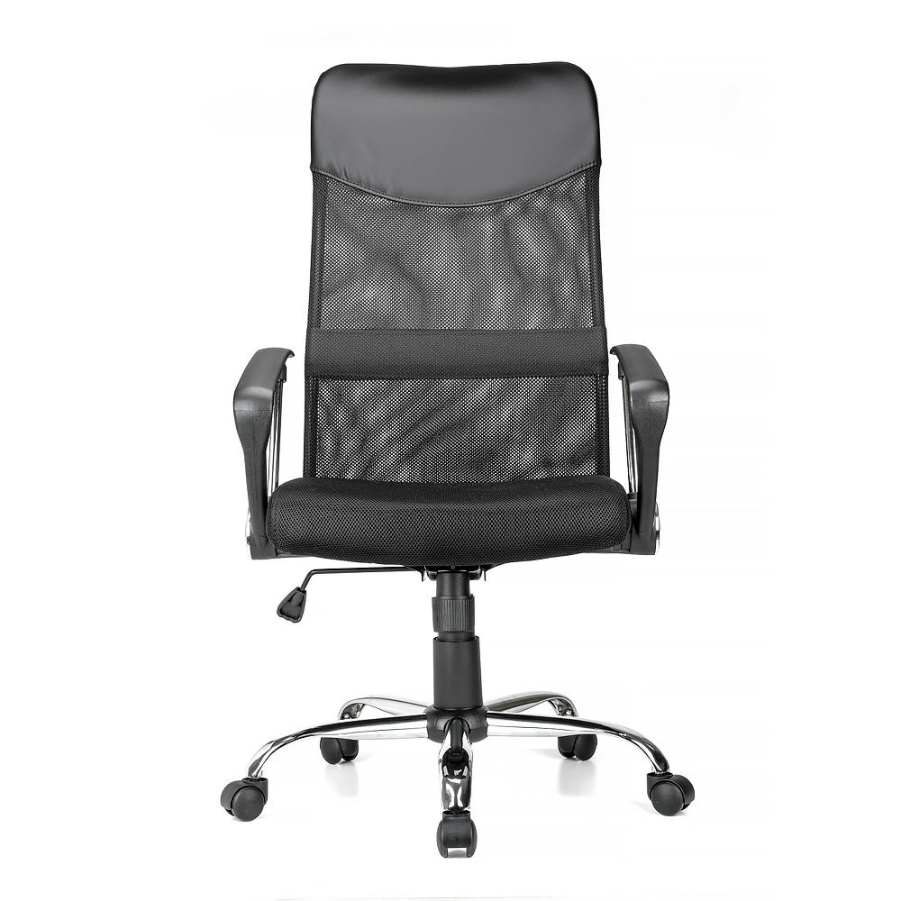 Adjustable Mesh Office Chair with Fixed Arms , High Back , Black - Moustache®