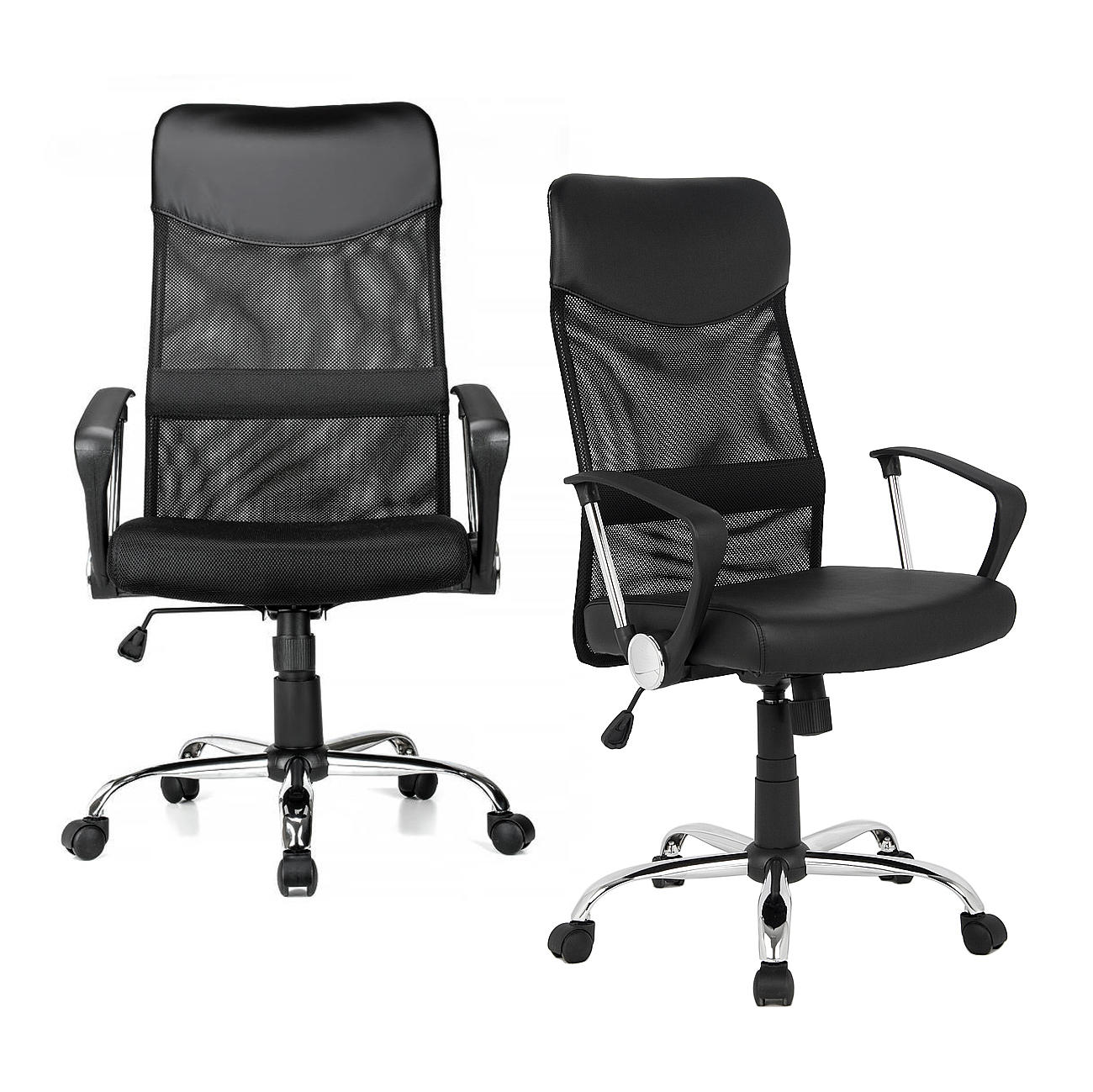 Adjustable Mesh Office Chair with Fixed Arms, High Back, Fabric Seat, Black - Moustache®