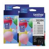 Brother LC203BK Original Black Ink Cartridge Twin Pack High Yield