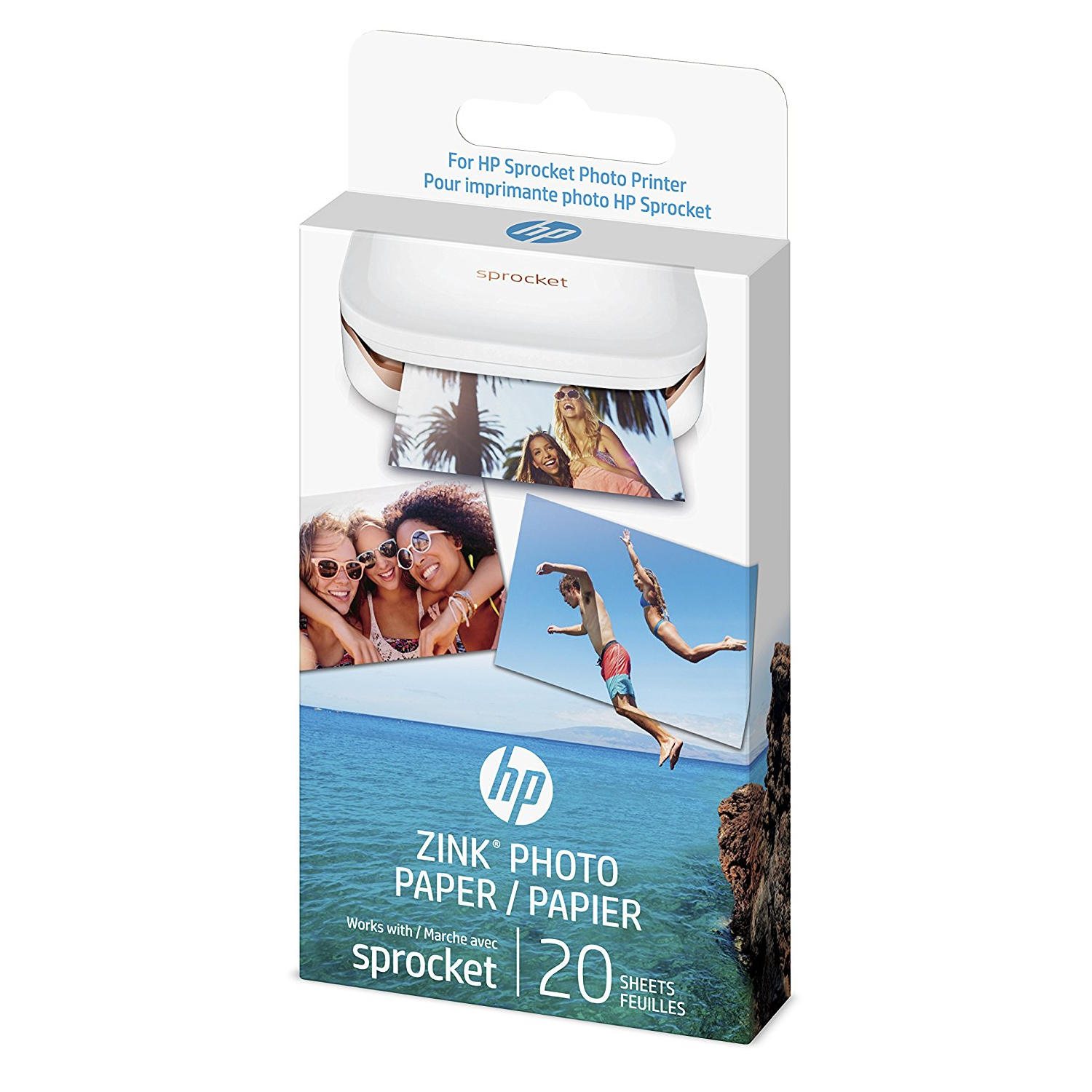 HP ZINK Sticky-backed Photo Paper for HP Sprocket Printer - 20 Sheets, 2 x 3 in