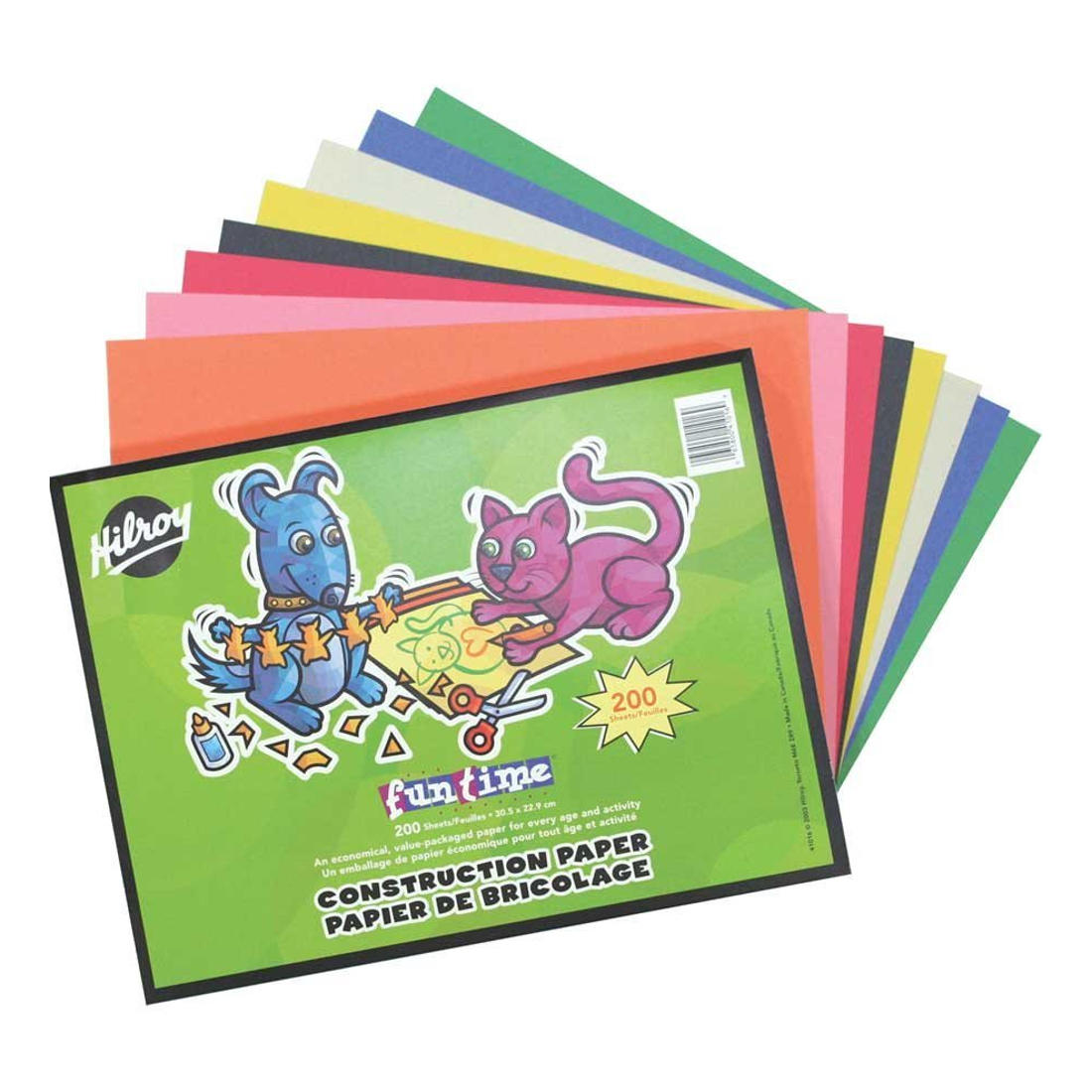 Hilroy Fun Time Construction Paper, 12 x 9, 8 Assorted Colors, 200 Sheets|Pack