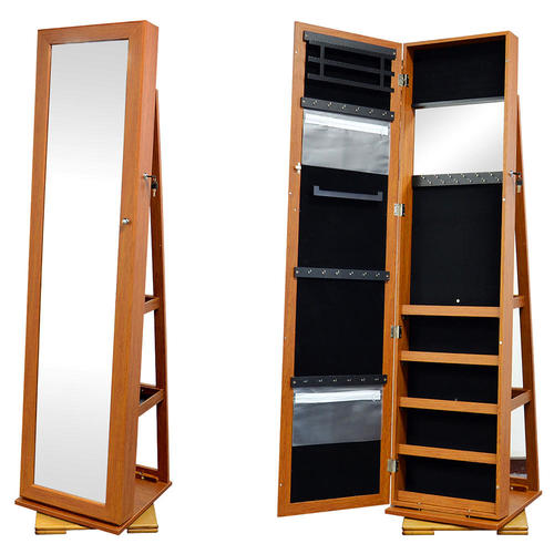 rotatable jewelry cabinet with full length mirror lockable standing jewelry armoire sortwise. Black Bedroom Furniture Sets. Home Design Ideas