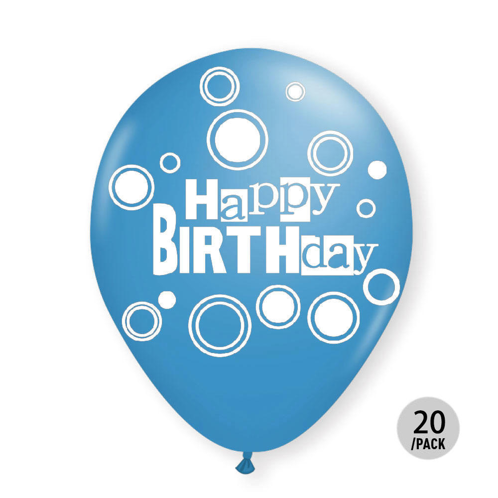 Light Blue Helium Quality Balloons Birthday Bold Dots 12 20Pcs