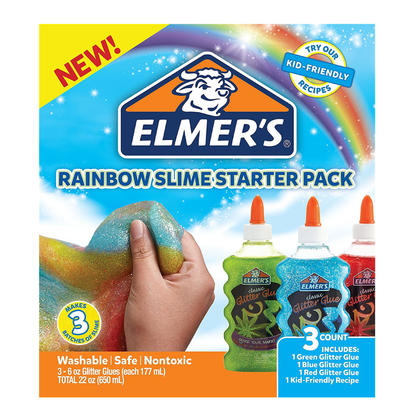 Elmer S Rainbow Slime Starter Kit With Green Blue And Red