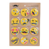Emoticon Refrigerator Magnets Sticker for Home, Kitchen and Office 12/Pack - Moustache®