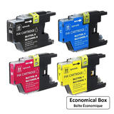 Brother LC75 Compatible Ink Cartridge Combo High Yield BK/C/M/Y - Economical Box
