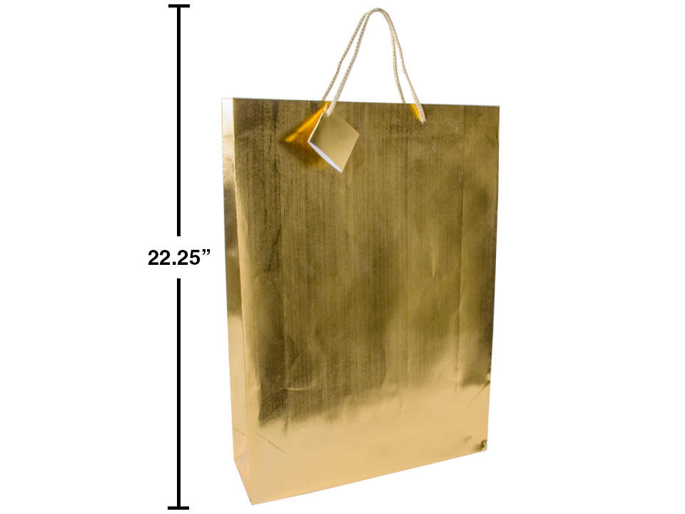 Paper T., Jumbo Metallic Gold GIft Bag,Embossed, 13x18x4