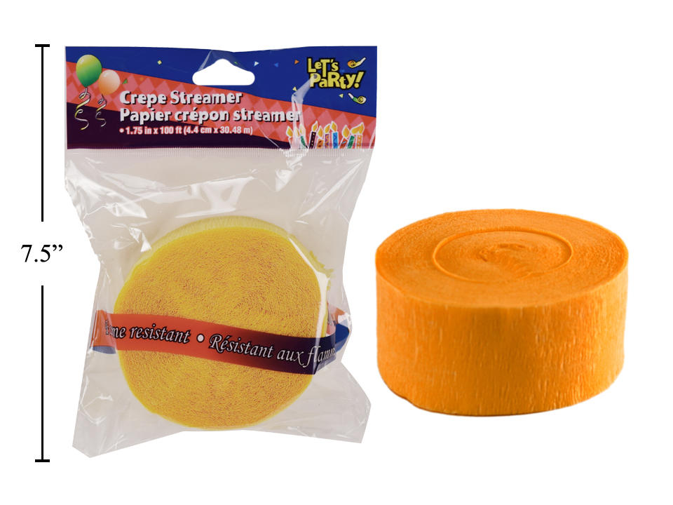 Lets Party 100 Crepe Streamer Yellow 1Pcs