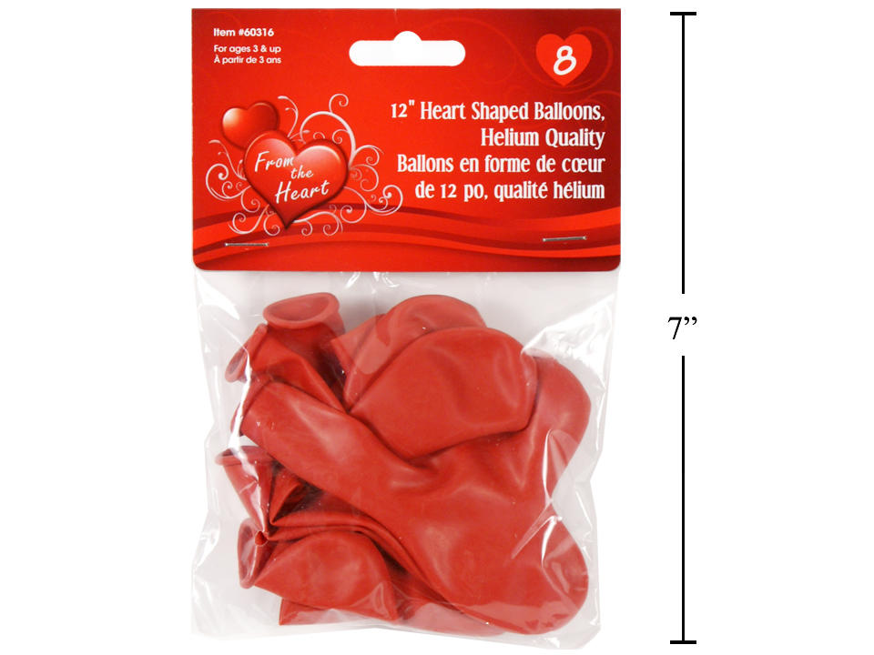 Vtines 8ct.12 Heart Shaped Red Balloons, Helium Quality