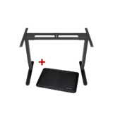 Sit-Stand Dual-Motor Height Adjustable ADR Desk Frame, Electric-Black + Standing Mat PrimeCables®
