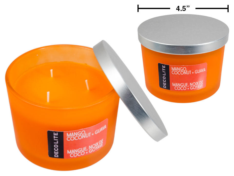 Deco Lite Jar Candle w Lid, 9.5oz, 3-wick, Mango,Coconut+Guava